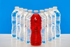 Grupp av plastic flaskor Royaltyfri Foto