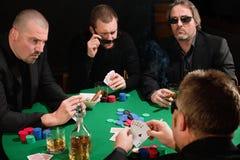 Grupp av pokerspelare royaltyfri fotografi
