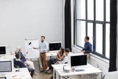 Grupp av professionell som arbetar på nytt affärsprojekt arkivfoto