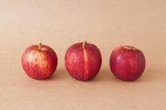 Grupp av röda äpplen på bakgrund för brunt papper Fotografering för Bildbyråer