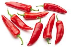 Grupp av röda chilies Arkivfoton