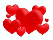 Grupp av röda hjärtor på vit bakgrund (3D framför), Royaltyfri Foto
