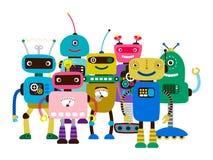 Grupp av robotar för tecknad filmtecken royaltyfri illustrationer