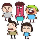 Grupp av roligt tecknad filmfolk Arkivfoton