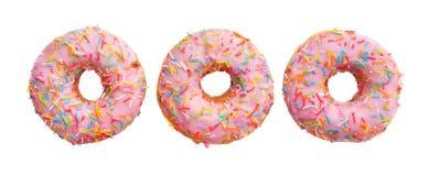 Grupp av rosa donuts Royaltyfria Foton
