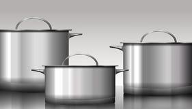 Grupp av rostfritt stålkitchenware som isoleras på vit Vektor mig royaltyfri illustrationer