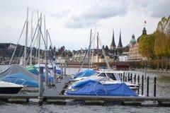 Grupp av segelbåtar, Lucerne. Royaltyfria Bilder