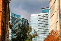Grupp av skyskrapor i Midtown, Atlanta, USA Arkivfoton