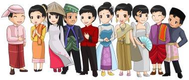 Grupp av South East Asia folk med det olika loppet Arkivfoton
