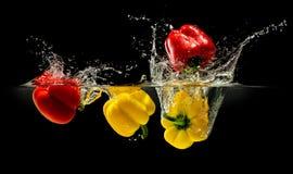 Grupp av spansk peppar som faller i vatten med färgstänk på svart backg Arkivbilder