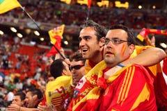 Grupp av spanska fotbollventilatorer Fotografering för Bildbyråer
