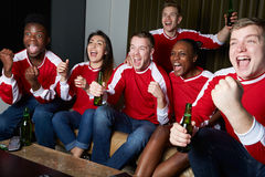 Grupp av sportfans som hemma håller ögonen på leken på TV royaltyfria bilder