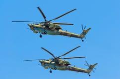 Grupp av stridhelikoptrar Berkuty Ryssland St Petersburg, Juni 2017 Arkivbild