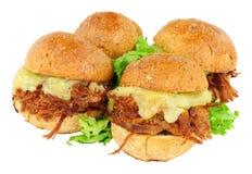 Grupp av strimlade nötköttsmörgåsglidare Royaltyfri Foto
