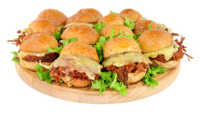 Grupp av strimlade nötköttsmörgåsglidare Royaltyfri Fotografi