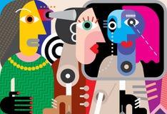 Grupp av talande folk Arkivbilder