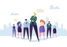 Grupp av tecken för affärsfolk med ledaren Teamwork- och ledarskapbegrepp lyckad affärsman royaltyfri illustrationer