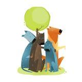 Grupp av tecknad filmhundkapplöpning som sitter under träd Arkivfoto