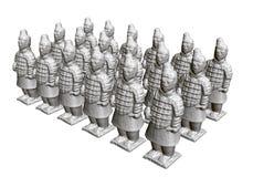 Grupp av terrakottakrigare Skulpturer av forntida terrakottakrigare 3d Isometriskt besk?da ocks? vektor f?r coreldrawillustration royaltyfri illustrationer