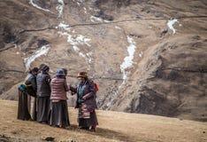 Grupp av tibetana kvinnor i den Drak Yerpa kloster, Tibet Arkivfoton