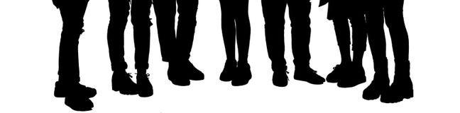 Grupp av tonåringkonturn Stilfulla tonårben som isoleras på vit Grupp av skolflickan Tonåringlivsstilbegrepp Tonåringgi royaltyfri bild