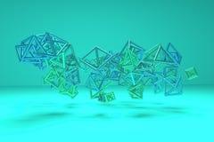 Grupp av triangeln eller det fyrkantiga flyget som inter--l?sas F?r grafisk design eller bakgrund geometrisk concepture 3d framf? vektor illustrationer