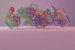 Grupp av triangeln eller fyrkanten, flyg som inter--l?sas, f?r designtextur & bakgrund framf?rande 3d royaltyfri illustrationer
