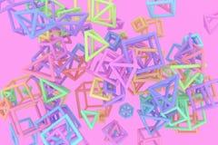 Grupp av triangeln eller fyrkanten, flyg som inter--l?sas, f?r designtextur & bakgrund framf?rande 3d vektor illustrationer