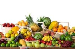 Grupp av tropiska frukter Arkivfoto