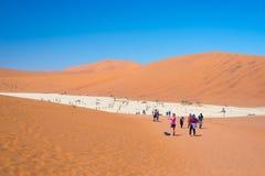 Grupp av turisten på Sossusvlei, Namib Naukluft nationalpark, loppdestination i Namibia Arkivbild