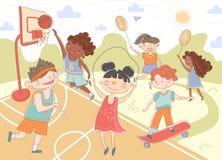 Grupp av unga barn som spelar sommarsportar stock illustrationer