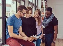 Grupp av unga blandras- studenter som arbetar med böcker och telefonen Royaltyfri Fotografi