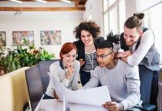 Grupp av unga businesspeople som i regeringsst?llning arbetar, startbegrepp arkivbild