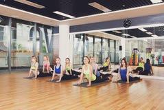 Grupp av unga kvinnor i yogagrupp Arkivbild