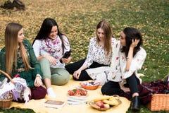 Grupp av unga kvinnor som har en picknick i parkera royaltyfria foton