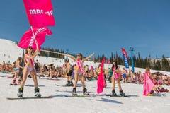 Grupp av unga lyckliga nätta kvinnor på en snowboard i färgrik bikini med flaggor Royaltyfri Foto