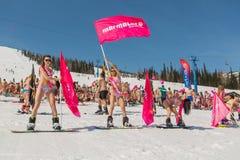 Grupp av unga lyckliga nätta kvinnor på en snowboard i färgrik bikini med flaggor Arkivfoto