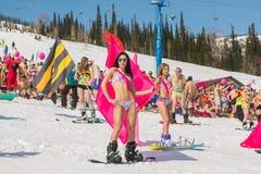 Grupp av unga lyckliga nätta kvinnor på en snowboard i färgrik bikini med flaggor Arkivbild