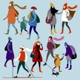 Grupp av unga stads- flickor i vinterkläder stock illustrationer