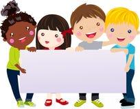 Grupp av ungar och banret Royaltyfri Bild
