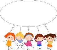 Grupp av ungar och det talande banret Arkivfoto