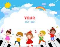 Grupp av ungar och musik royaltyfri illustrationer