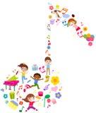 Grupp av ungar och musik Arkivbild