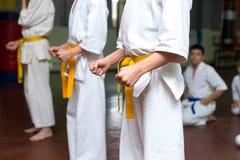 Grupp av ungar på en kampsportutbildning arkivfoto