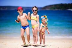 Grupp av ungar på en strand royaltyfri foto
