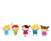 Grupp av ungar som har gyckel royaltyfri illustrationer