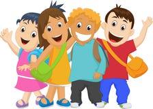 Grupp av ungar som tillsammans går till skolan Fotografering för Bildbyråer