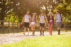 Grupp av ungdomargående campa på musikfestivalen arkivfoto