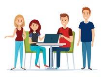 Grupp av ungdomari arbetsplatsavatarsna royaltyfri illustrationer