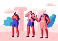 Grupp av ungdomarmed ryggs?ckar och Smartphones som utomlands reser Service f?r loppbyr?, exotisk landsresandetur stock illustrationer